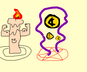 A buff candle summoning coins.