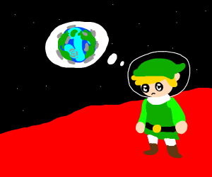 Link contemplating the Earth on Mars