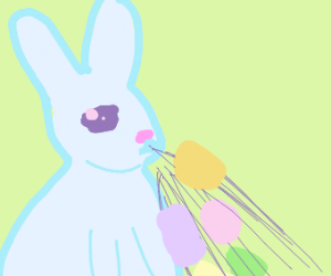 Bunny burping out easter eggs