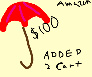 $100 red umbrella added to cart, amazon.com