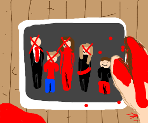 Bloody hand holds family photo w/ X on faces