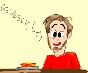 PewDiePie eating lasagna