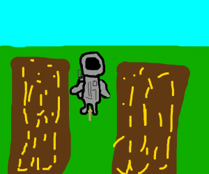 Moonman working as a scarecrow
