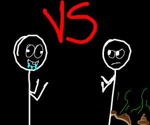 Drooling stickman vs pooping stickman