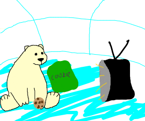 polar bear in iglu eating cookies, watches tv