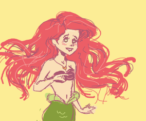 Ariel with a heart necklace