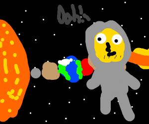homer is floating in the solar system