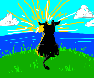 A Bull on grass staring into a ocean