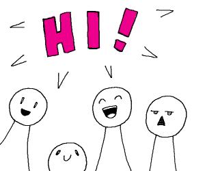 4 dudes saying hi