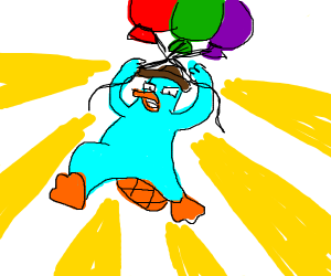 Platypus flies away on some balloons