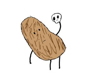 Potatoe holding a skull