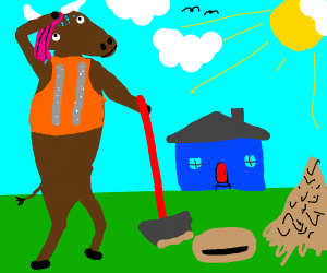 Ox digging into a Lawn