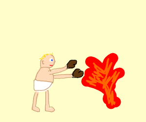 Baby Boxing with Fire