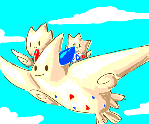 Togekiss giving a ride to Togepi and Togetic