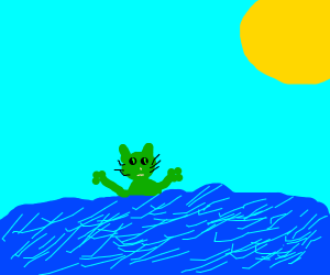 a green cat is lost in the sea