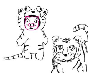 Pig in a white tiger onesie