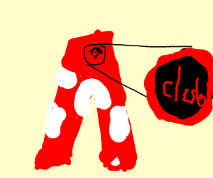 "red word ""club"" on mushroom like pants"