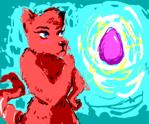 furry looks at egg