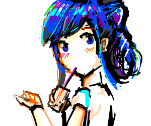 Cute anime girl with multicolored blue hair