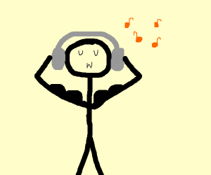 Stick figure listens to records