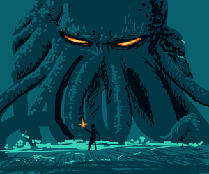small man with light see cthulhu