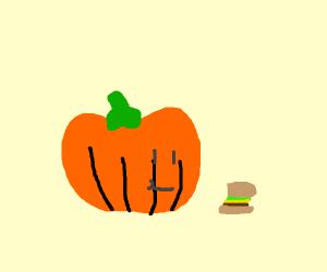 Pumpkin eating a hamburger