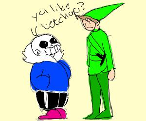 Old link talks to green old sans