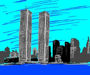 tall skyscraper above city