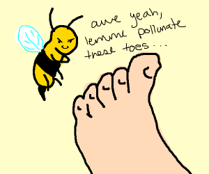 Bee is involved in some foot fetish