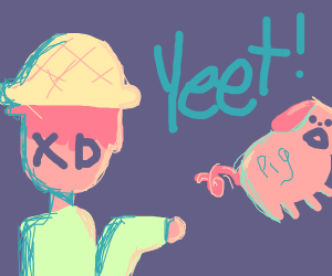 Guy yeets a pig
