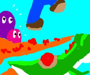 Mario sacrifices Yoshi to make a jump