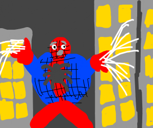 Fat Spiderman is scared