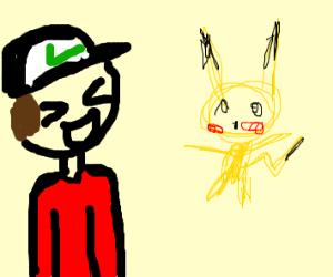Pokemon trainer laughs at a drawn Pokemon