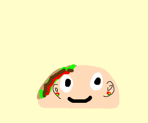 taco with an ear peeing