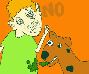 Shaggy throws up scooby