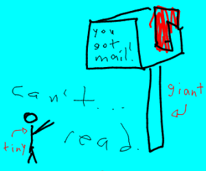 Tiny man can't read his giant mailbox