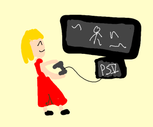 a woman playing video games