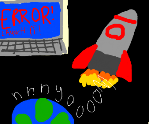 Virus on Computer sends rocket into space.
