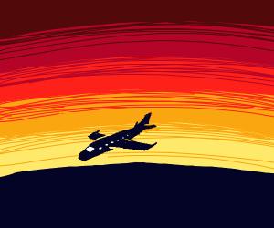 silhouette plane landing