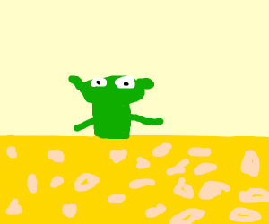 Kermit in a sea of cheese
