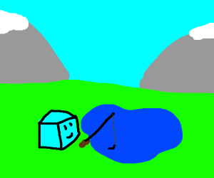 an ice cube fishing