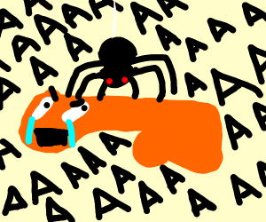 spider stands on shrieking orange phallus