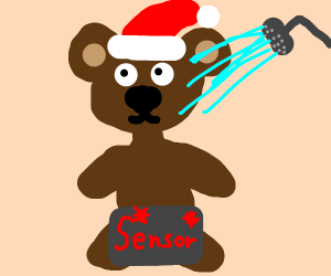 Bear with a Santa hat taking a shower