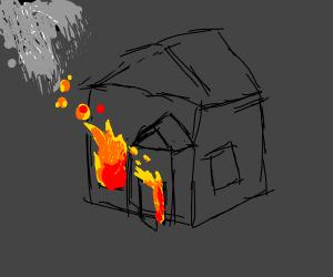Burning house at night