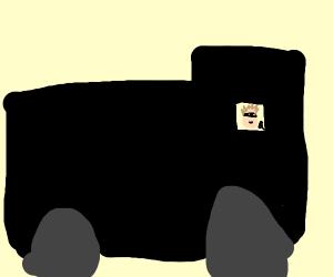 Criminal driving a black van