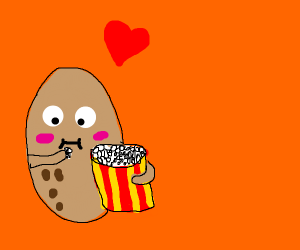 a cute potato that's eating popcorn