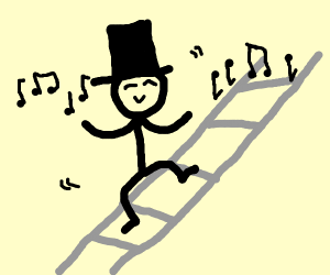 top hat dude dancing on a ladder