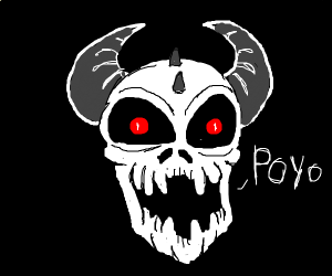 demon skull thing saying poyo