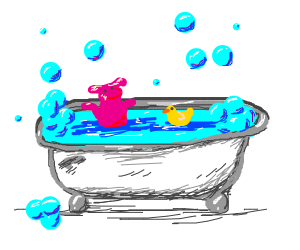 Pig takeing a bubble bath with a duck