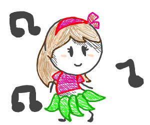 Hawaiian girl hula dancing in grass skirt